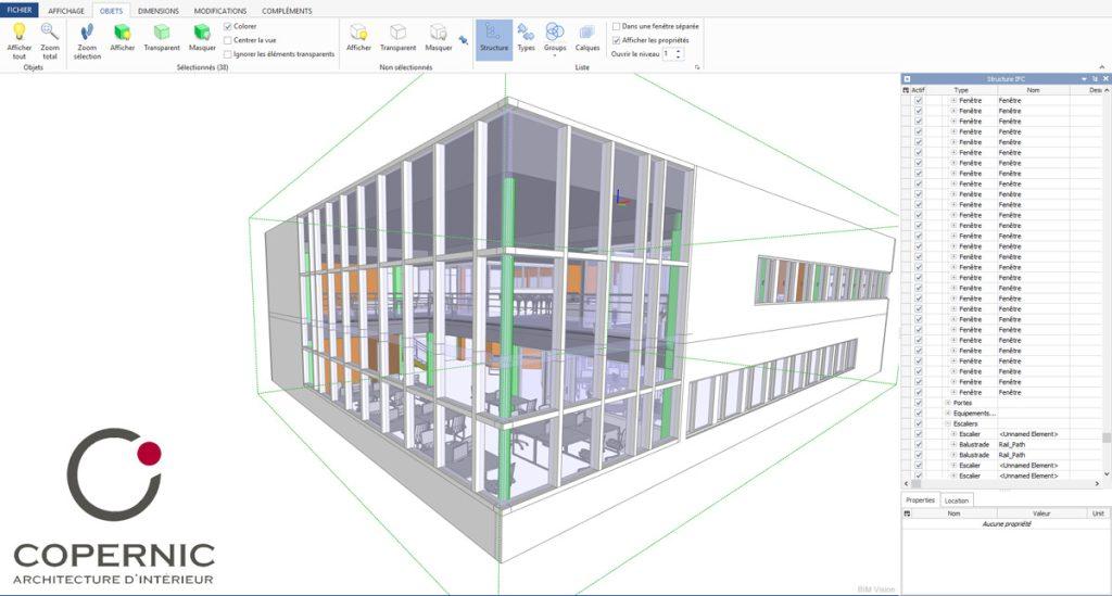 Maquette BIM BIMvision Copernic Architecture intérieure