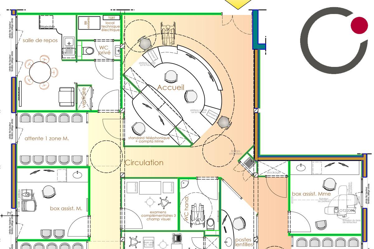 Etude de l'aménagement d'un cabinet d'ophtalmologie à Annecy - Copernic Architecture d'intérieur