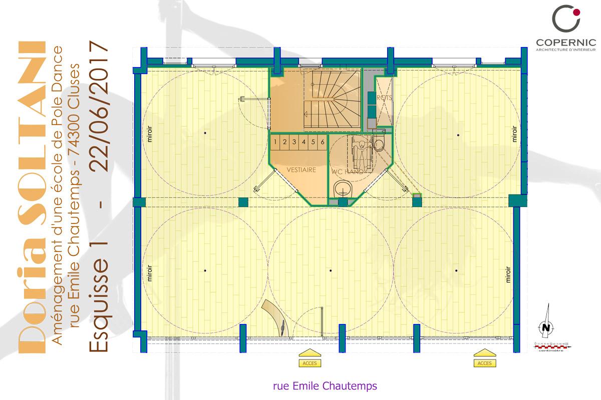 Aménagement d'une école de pole dance à Cluses - Copernic - Architecture d'intérieur