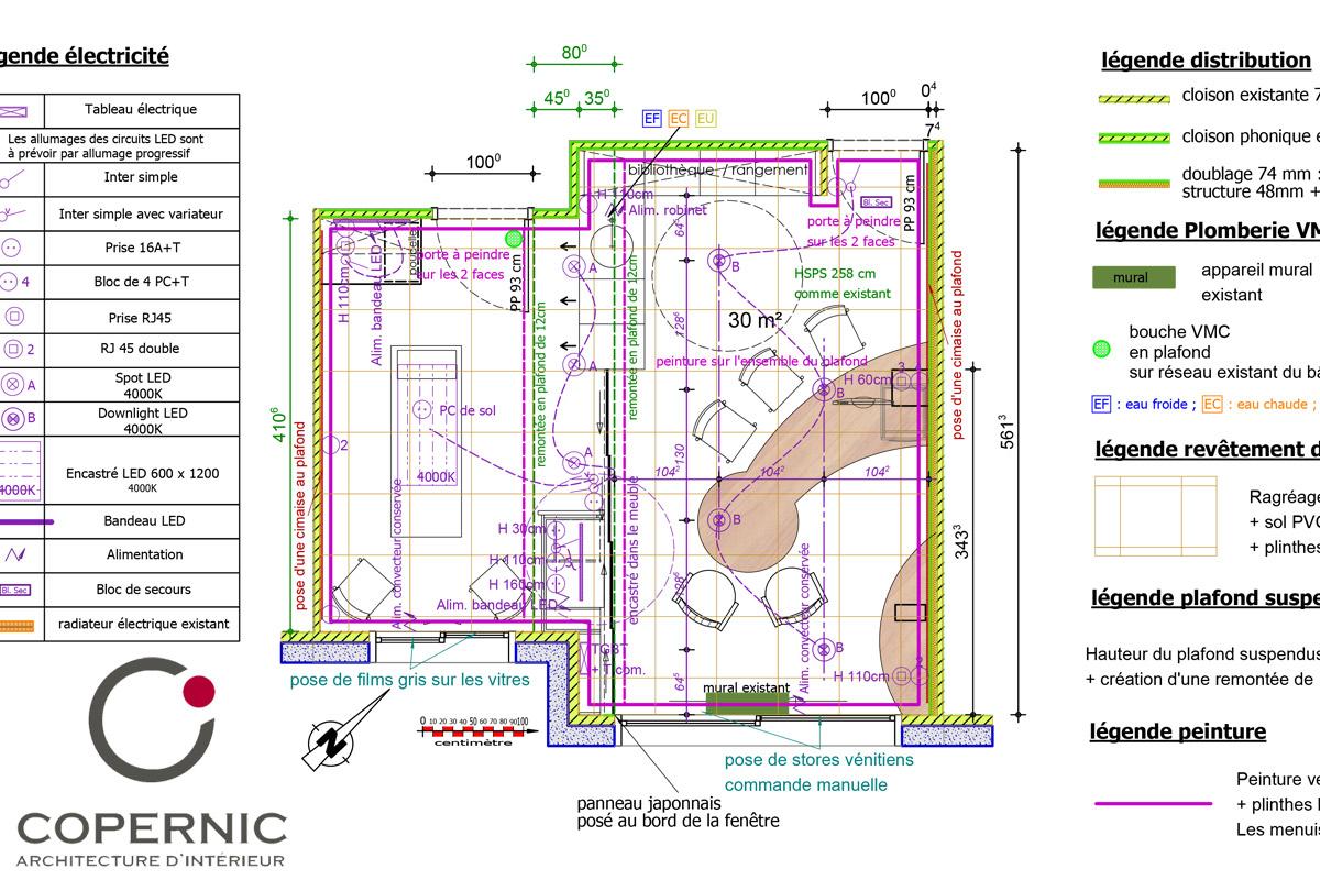 Plan de la rénovation d'un cabinet médical - Dr Kern - Copernic Architecture intérieure