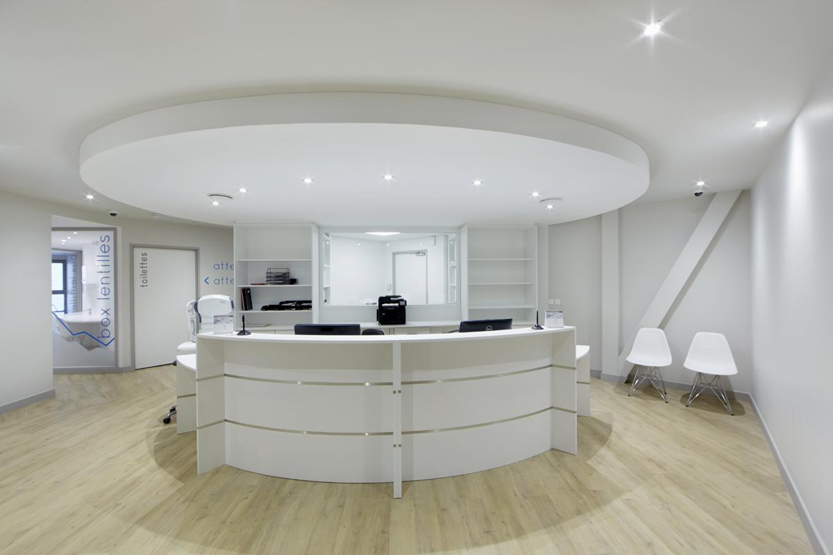 accueil cabinet ophtalmo aménagement - Copernic - Architecture d'intérieur