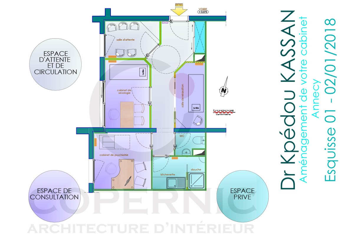 aménagement cabinet de sexologie - Copernic - architecture d'intérieur
