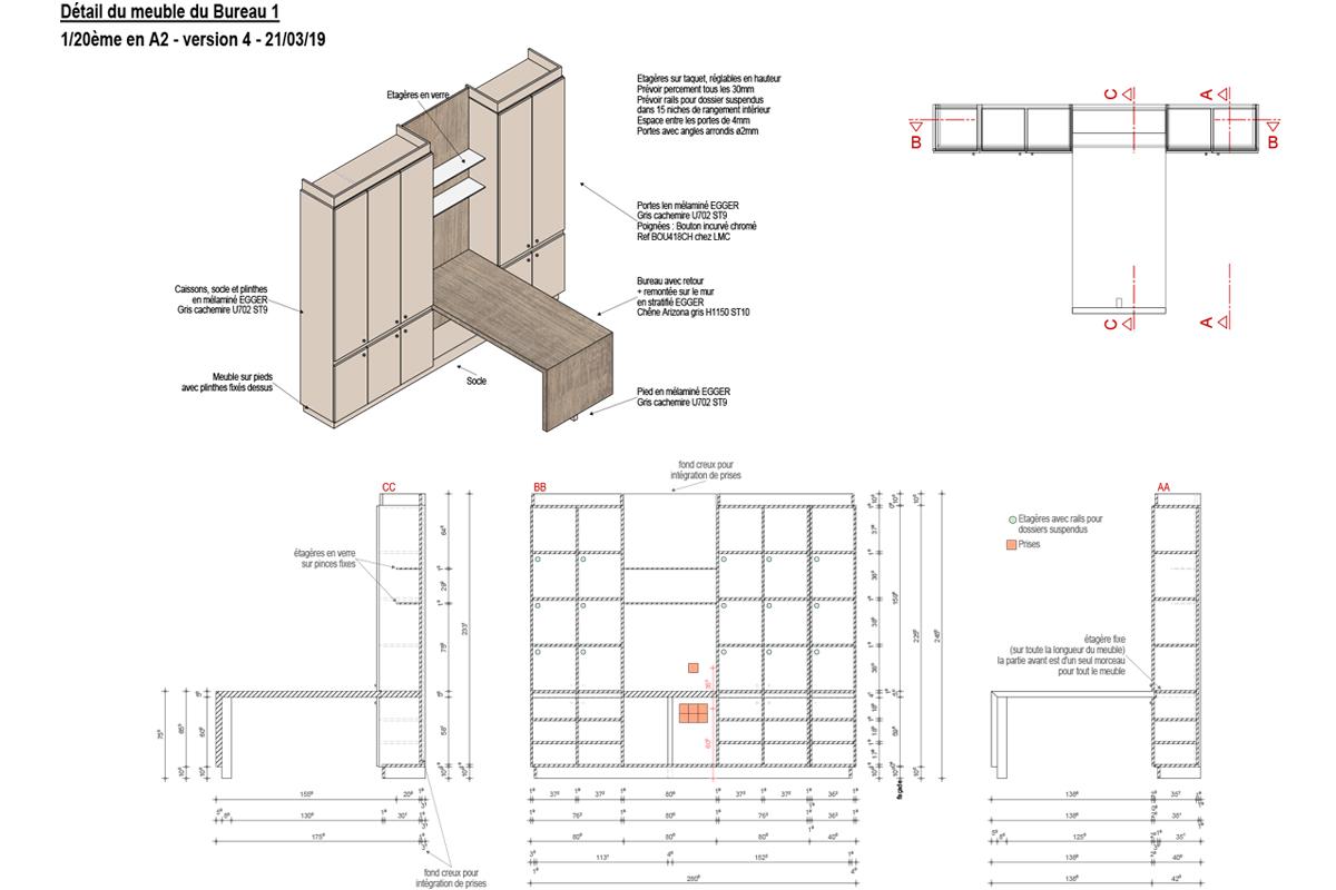 plan de détail du mobilier de bureau - Copernic - architecture d'intérieur