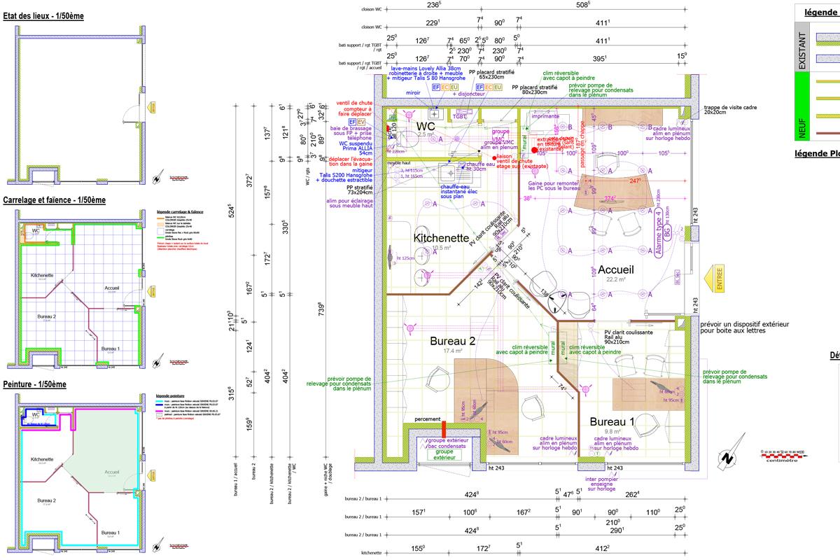 plan général détaillé - architecture d'intérieur pour agence immobilière - Copernic