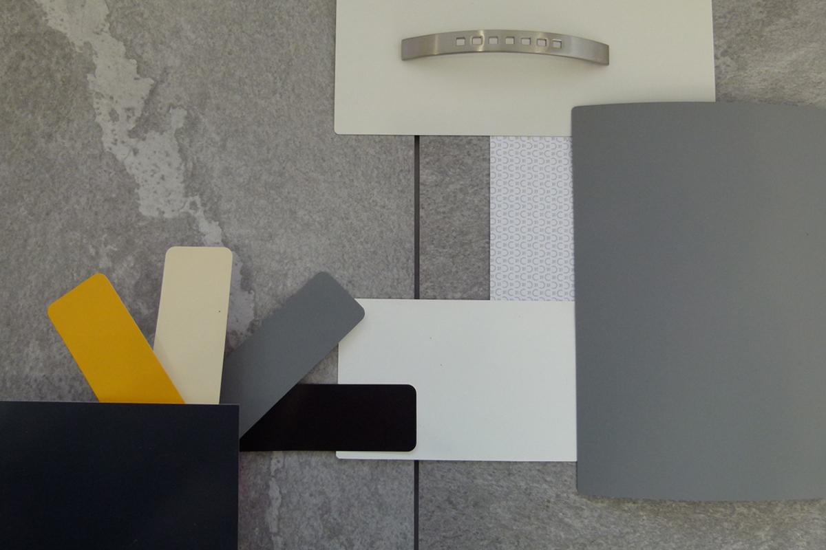 proposition couleurs matériaux pour une agence immobilière - Copernic - architecture d'intérieur