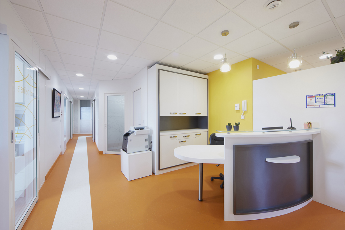 rénovation de l'accueil d'un cabinet dentaire - Copernic - architecture d'intérieur