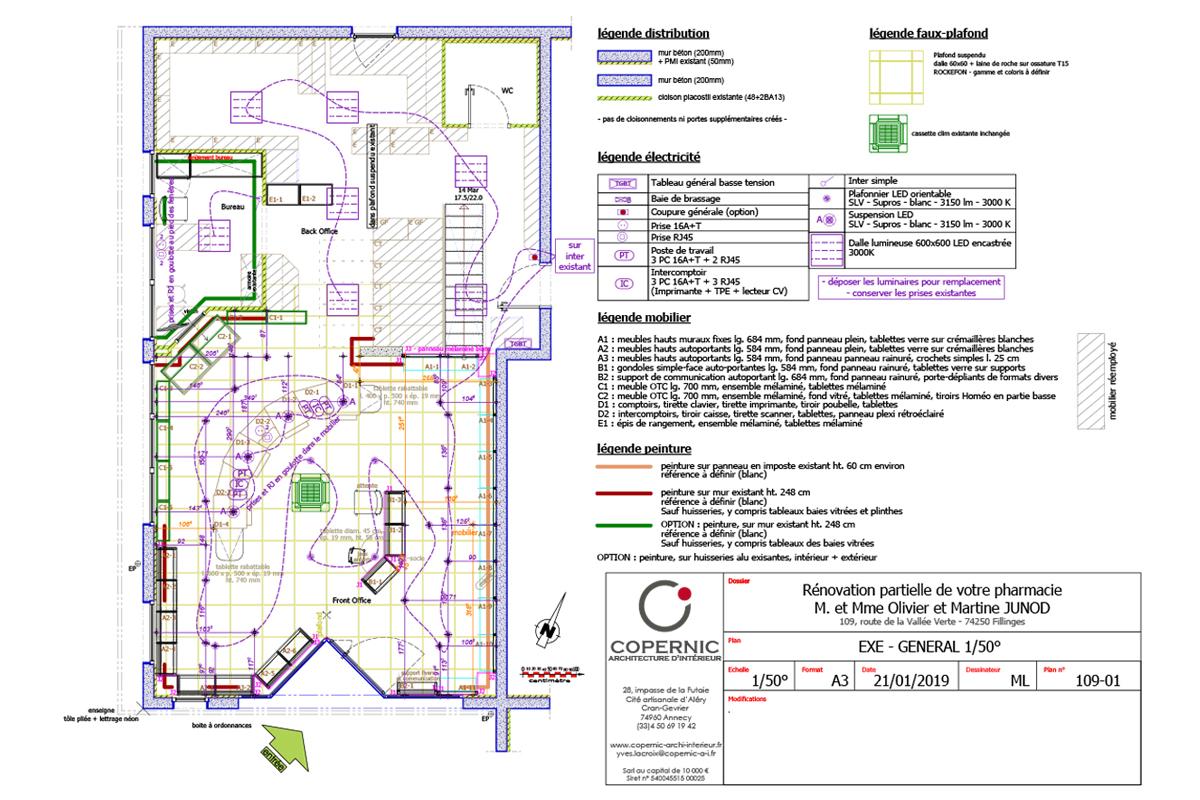 rénovation du front office d'une pharmacie - plan d'exécution - Copernic