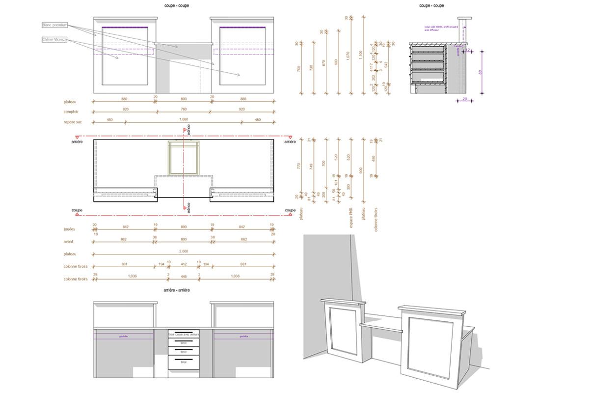 Mobilier d'accueil d'un cabinet d'orthodontie - Copernic - architecture d'intérieur