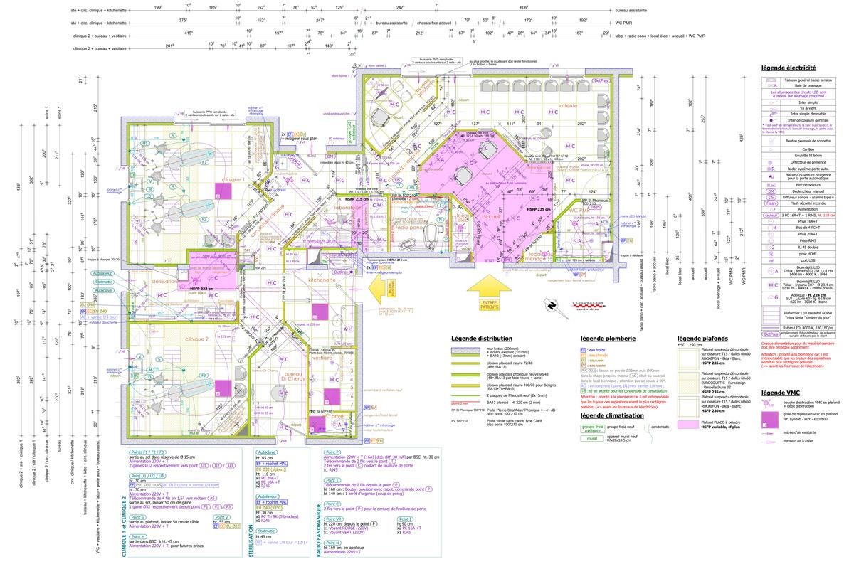 Plan d'exécution général pour la rénovation d'un cabinet d'orthodontie dans l'Ain - Copernic - architecture d'intérieur