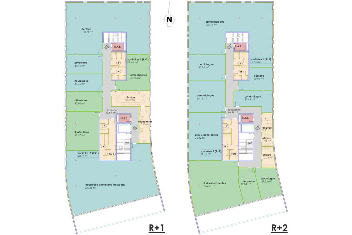découpage immobilier pour une maison de santé - Copernic - architecture d'intérieur