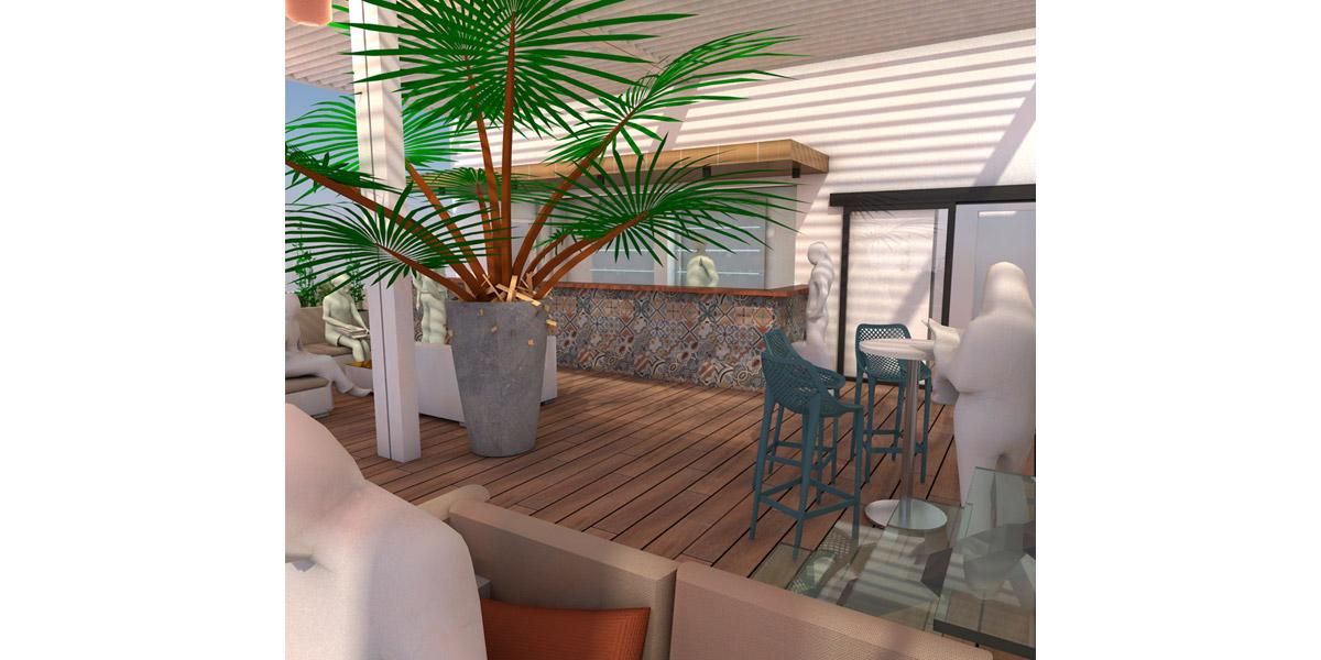image de synthèse d'un bar en rooftop - Copernic - architecture d'intérieur