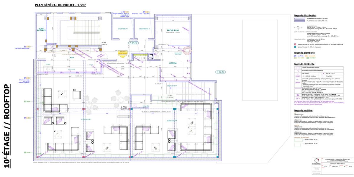 plan général du rooftop - Copernic - architecture d'intérieur