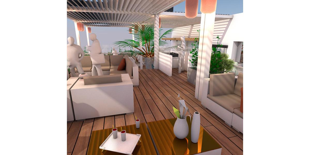 salle lounge du bar extérieur - Copernic - architecture d'intérieur