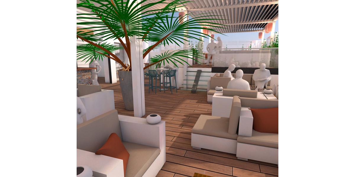 vue 3D de principe pour le rooftop - Copernic - architecture d'intérieur